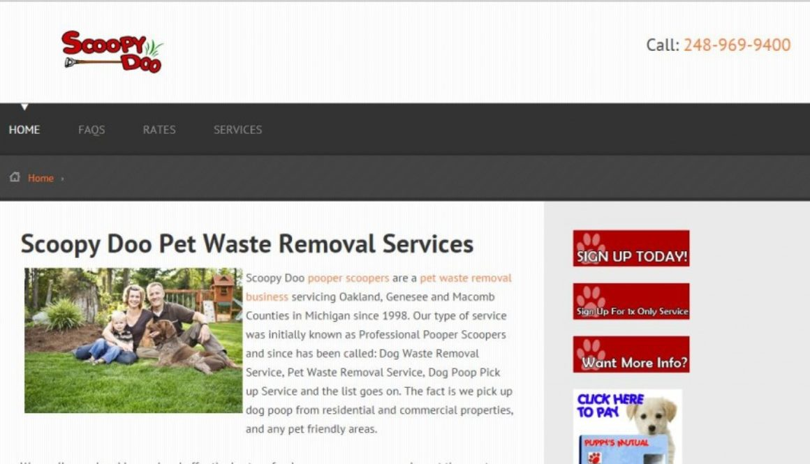 Pet Waste Disposal Website in Oxford, Michigan